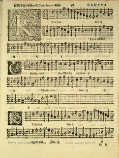 The first page of Palestrina's Pope Marcellus Mass, published in 1565