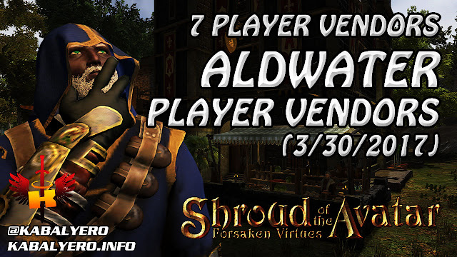 Aldwater Player Vendors, 7 Player Vendors Found (3/30/2017) 💰 Shroud Of The Avatar (Market Watch)