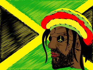 rastaman and Jamaican flag