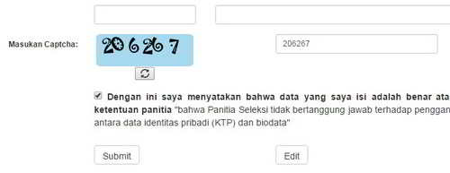 Isi Captcha lalu kik tombol Submit atau Edit