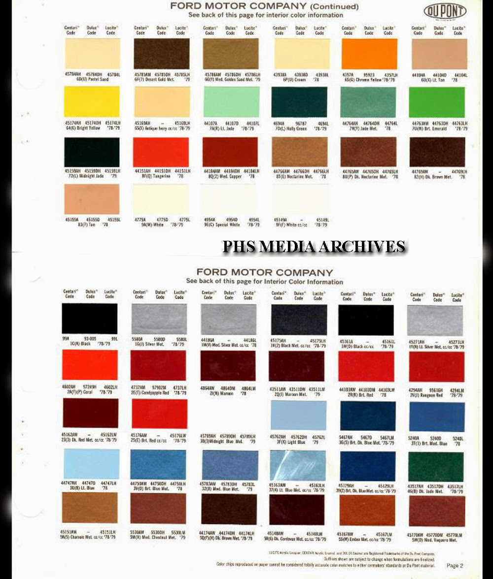 Ford Interior Color Codes 1979 Bronco Wiring Diagram Http Wwwsupermotorsnet Registry Media Restoration Help Series Paint And Vinyl Roof Colors