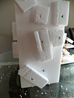 Styrofoam and colored craft stick sculpture from And Next Comes L