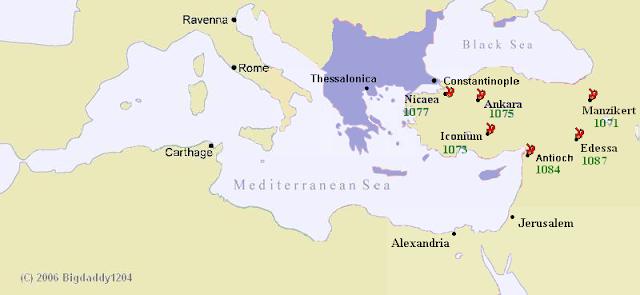 Kota Manzikert terletak di atas kanan yang ada tulisan 1071.