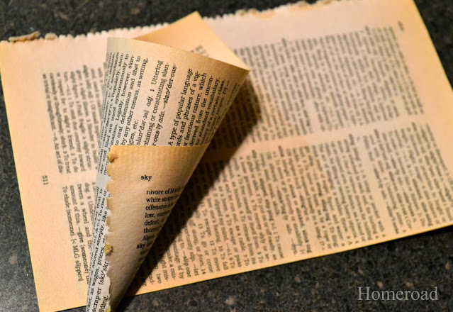 yellowed book page cones