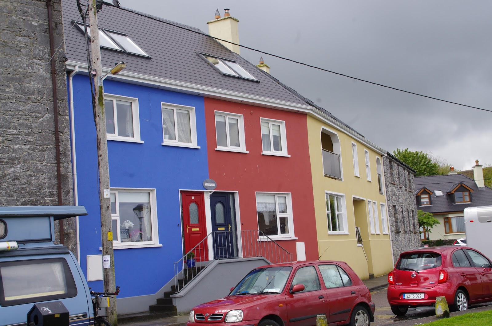 Bright colourful houses in Kinvarra Ireland