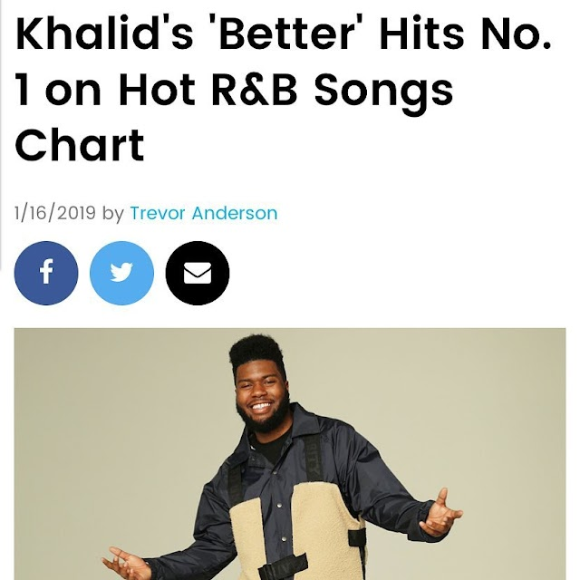 KHALID HIT BILLBOARD TOP SPOT NO 1