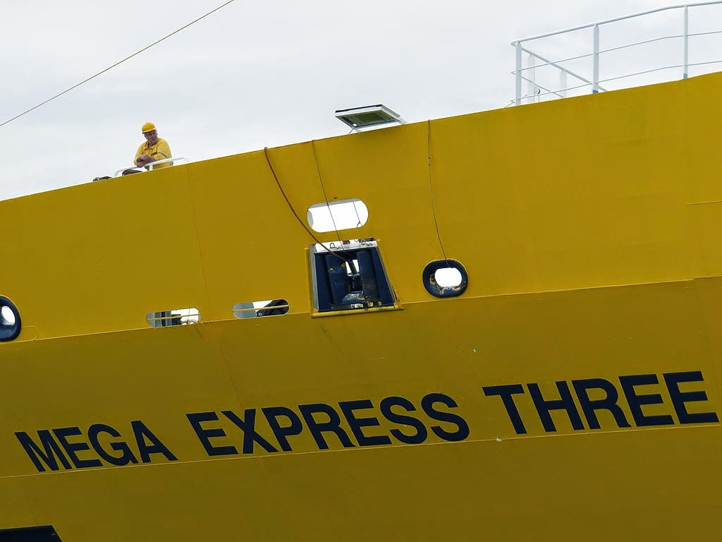 Mega Express Three ferry, IMO 9208083, port of Livorno