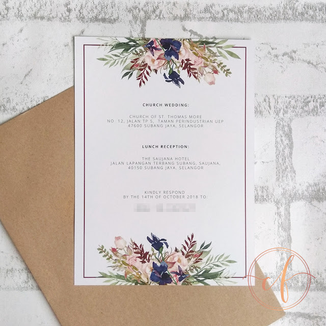 Rustic Blue Floral Church Ceremony Wedding Cards