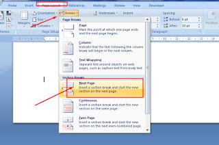 memisah halaman page breaks