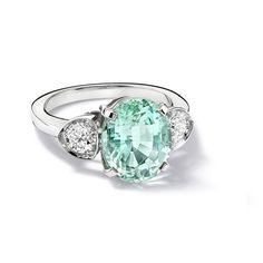 Nhẫn đá Tourmaline xanh