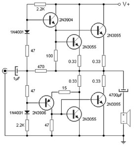 90W Power Amplifier Circuit with Transistor 2N3055