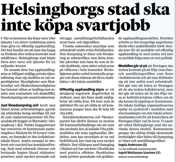 S)-politik i Helsingborg  Debattartikel i Helsingborgs Dagblad den ... 7aa7dbf6206fb