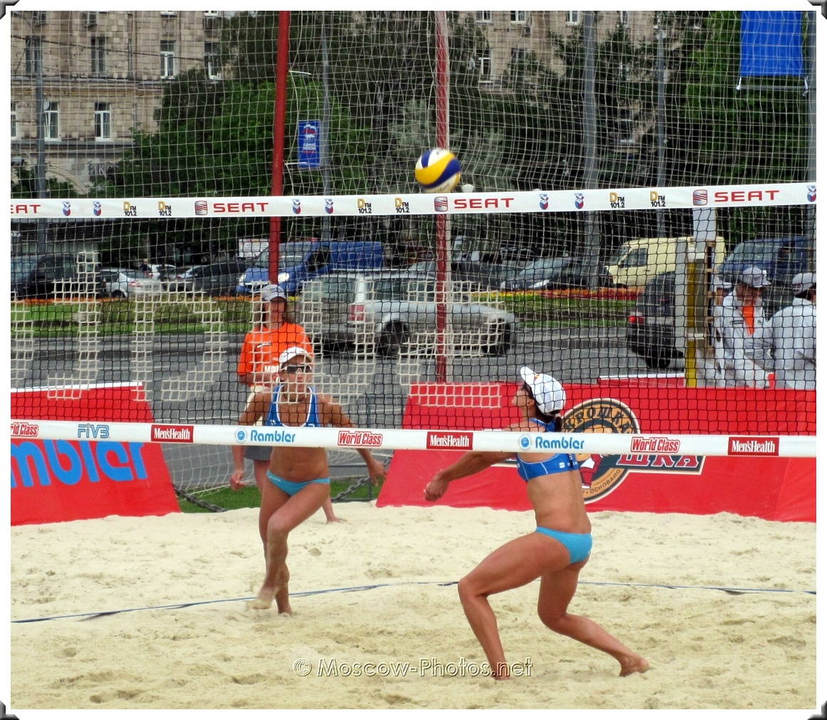 Attack of Greece Women's Beach Volley Team