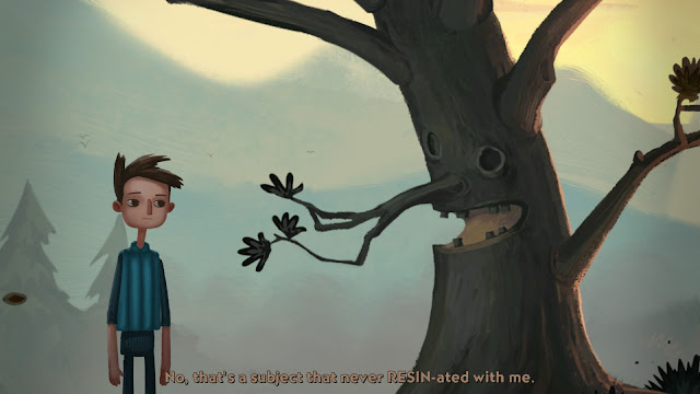 Shay from Broken Age's Act 2 converses with a tree