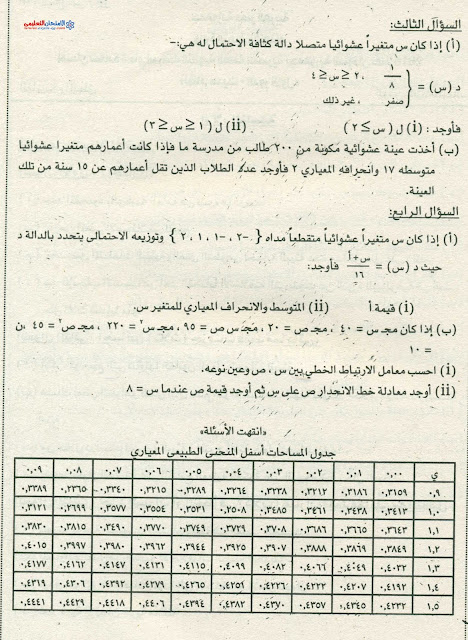 امتحان السودان 2016 فى الاحصاء للثانوية العامة + الاجابة النموذجية