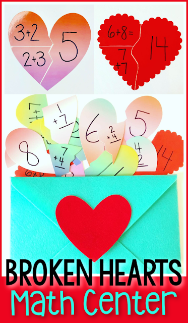 Broken Hearts math activity for Kindergarten and 1st Grade