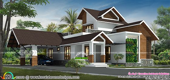 Modern sloping roof single floor house design