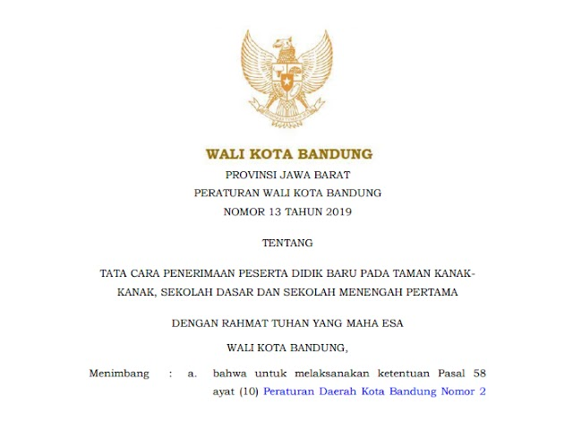 Peraturan Wali Kota Tentang PPDB Kota Bandung Tahun 2019