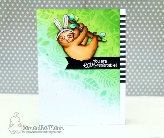 Ear-Resistable Sloth Card by Samantha Mann | In Slow Motion Stamp Set, Newton's Easter Basket Stamp Set and Tropical Leaves Stencil by Newton's Nook Designs #newtonsnook #handmade