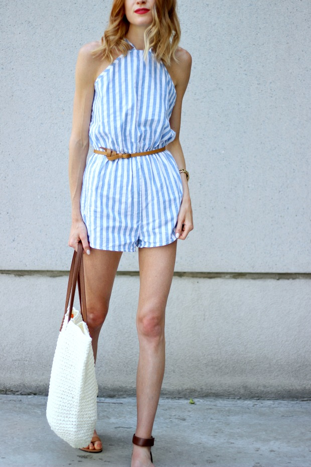 "Shein Spaghetti Strap Vertical Stripe Romper, Ivanka Trump sandals, Joe Fresh Straw Tote Bag, NYX Soft Matte Lip Cream in ""Amsterdam"", Miu Miu Cat Eye sunglasses"