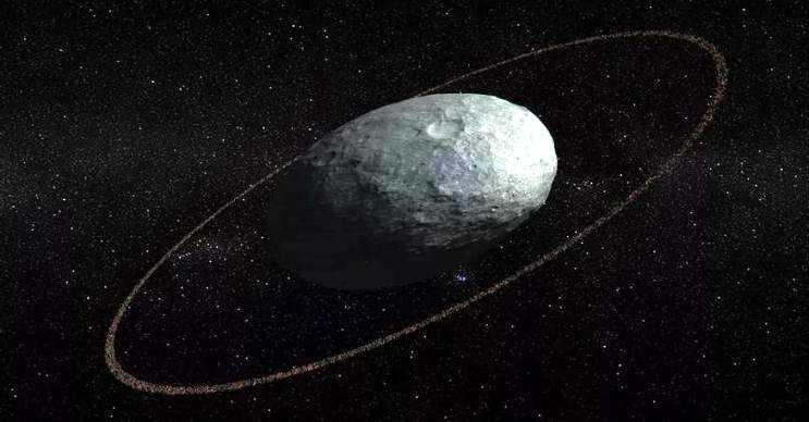 Halkalı cüce gezegen, 64 kilometre genişliğinde ince bir halkaya sahiptir.