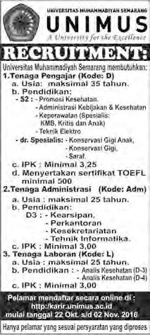 Lowongan kerja pengajar, administrasi dan laboran di Unimus Semarang