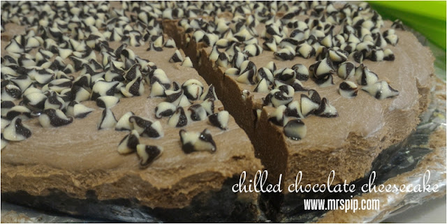 Resepi ringkas chilled chocolate cheesecake