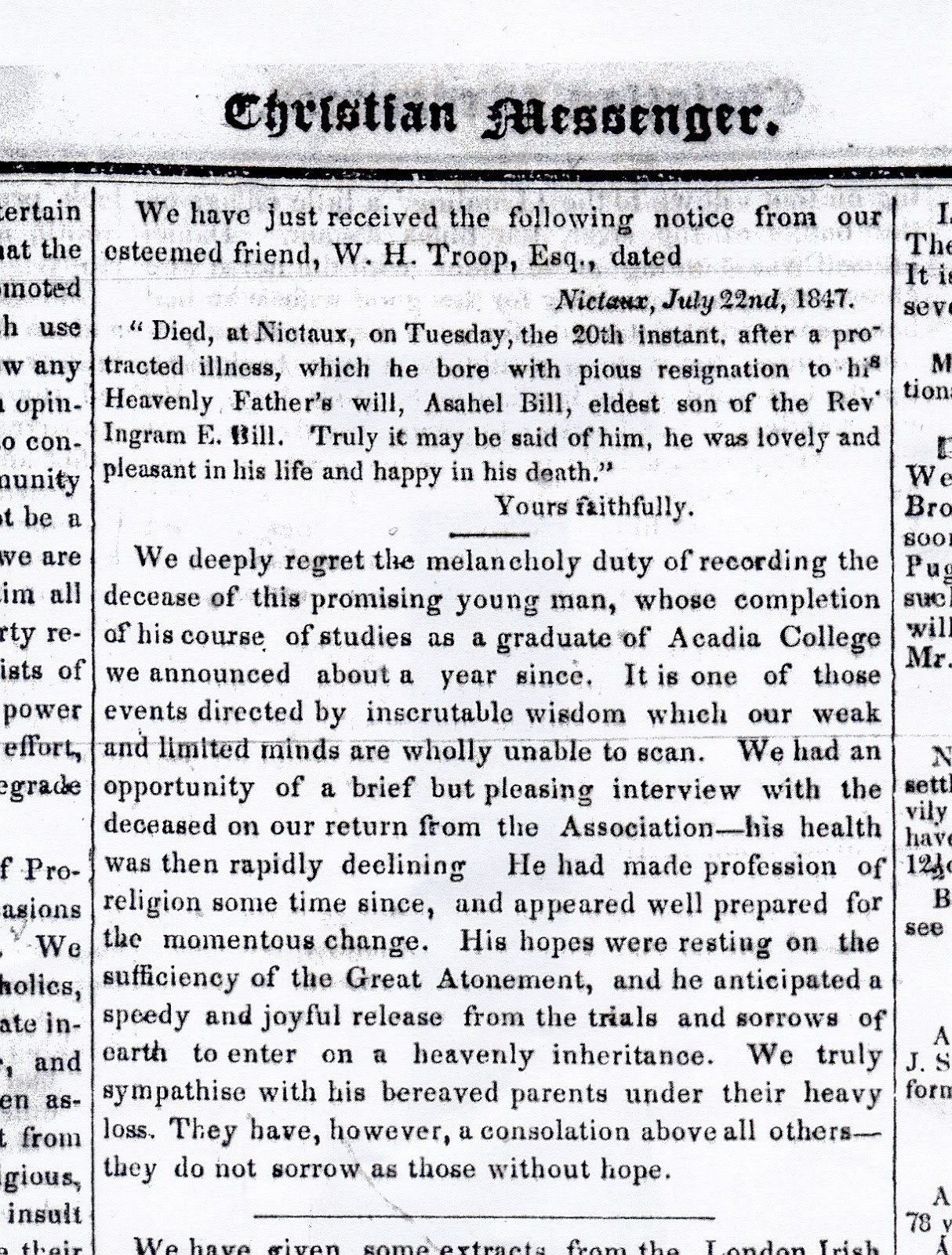 Nutfield Genealogy: Asahel Bill, Death Notice 1847