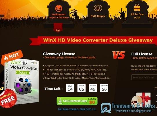 Offre promotionnelle : WinX HD Video Converter Deluxe gratuit pour Halloween !