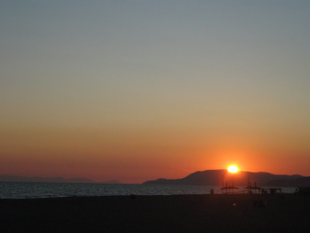 Sunset at Fiumara Beach Restaurant on Tuscany's coast