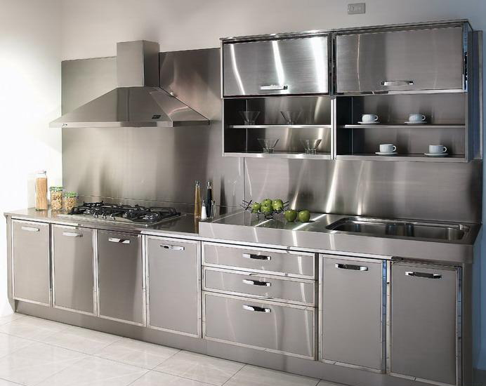 Ide Desain Stainless Steel Kitchen Cabinets