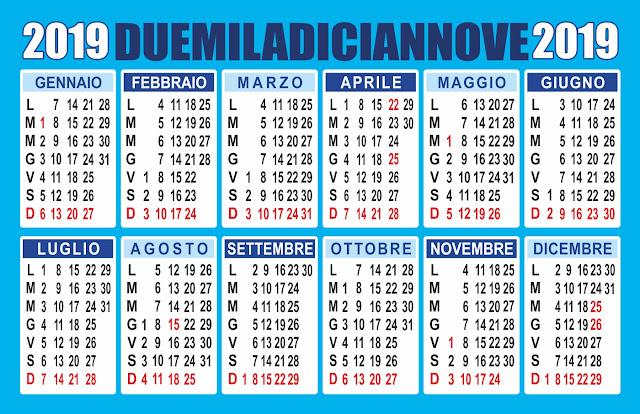 calendario annuale 2019