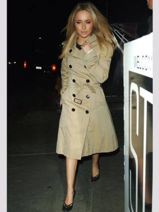 Hayden Panettiere in trench coat