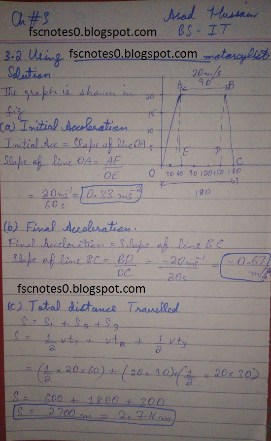 F.Sc ICS Notes: Physics XI: Chapter 3 Motion and Force Numerical Problems Asad Hussain 1