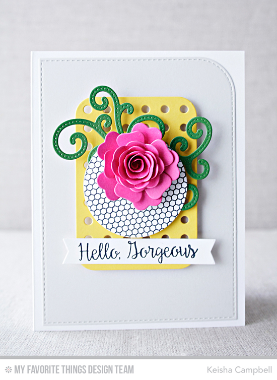 Hello Gorgeous Card by Keisha Campbell featuring the Bling It On stamp set, the Mini Hexagon Background stamp, and the Mini Heirloom Rose, Pierced Fancy Flourish, and Blueprints 22 Die-namics #mftstamps