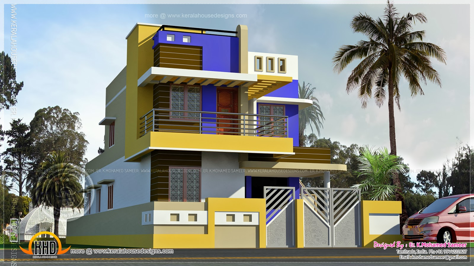 Modern tamilnadu house kerala home design and floor plans for Home models in tamilnadu pictures