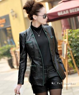 jaket kulit wanita model blazer