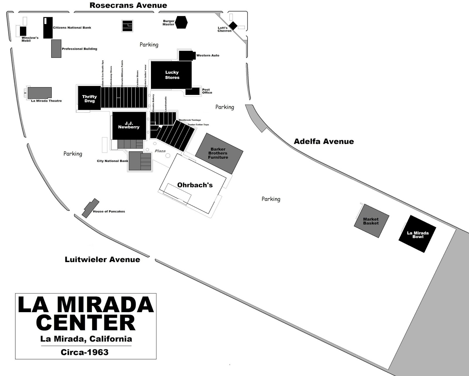 A Circa U002763 Physical Layout Of LA MIRADA CENTER. By This Time, There Were  Two Supermarkets, A 5 U0026 Dime, Drug Store, Furniture Store, Bowling Alley,  ...
