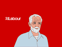 Labour party's Jeremy Corbyn, cartoon by Wendy Cockcroft