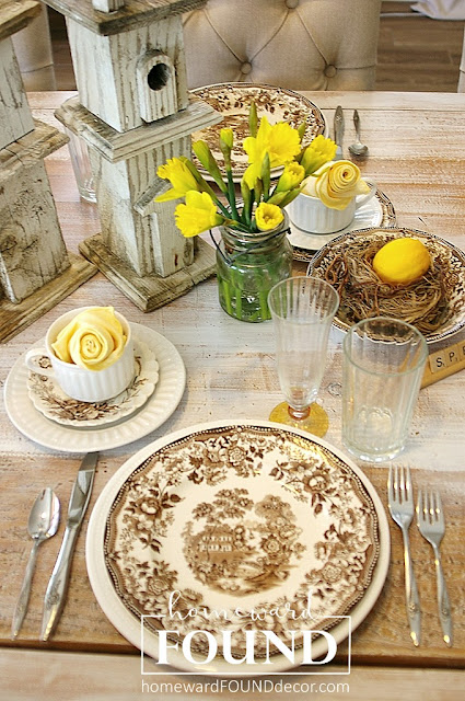 vintage staffordshire china spring tablescape in brown and yellow with nests by homewardFOUND decor