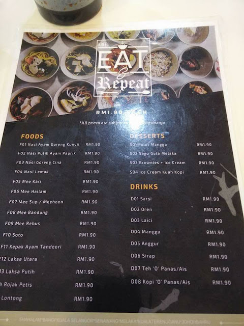 Menu EAT & Repeat Cafe
