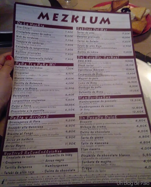 Carta Restaurante Mezklum Madrid