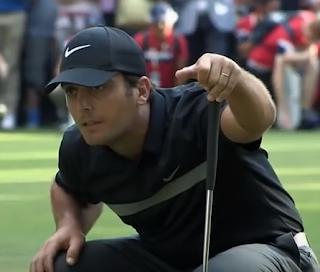 Francesco Molinari lining up the putt that won him the 2016 Italian Open golf championship at Monza