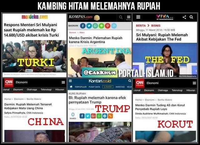 LUCU! Kambing Hitam Melemahnya Rupiah di Era Rezim Jokowi: Karena Krisis Turki, Argentina, China, Korut, The Fed, Trump
