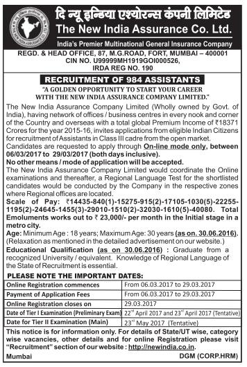 New India Assurance Co Ltd Assistant Recruitment 2017