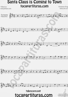Partitura de Santa Claus Is Coming To Townpara Trompeta y Fliscorno Villancico Christmas Song Carol Sheet Music for Trumpet and Flugelhorn Music Scores