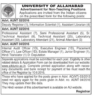 University of Allahabad Non‐Teaching Recruitment 2016 - 112 Technical Assistant, Lab Attendant, Junior Engineer Posts