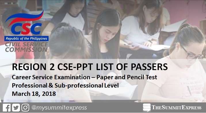 March 2018 Civil Service Exam CSE-PPT result release: Region 2
