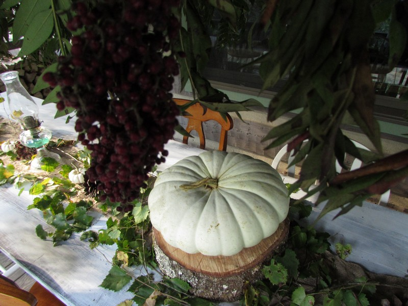 Outdoor Fall Tablescape featuring white pumpkins, outdoor chandelier, antique glass lamps
