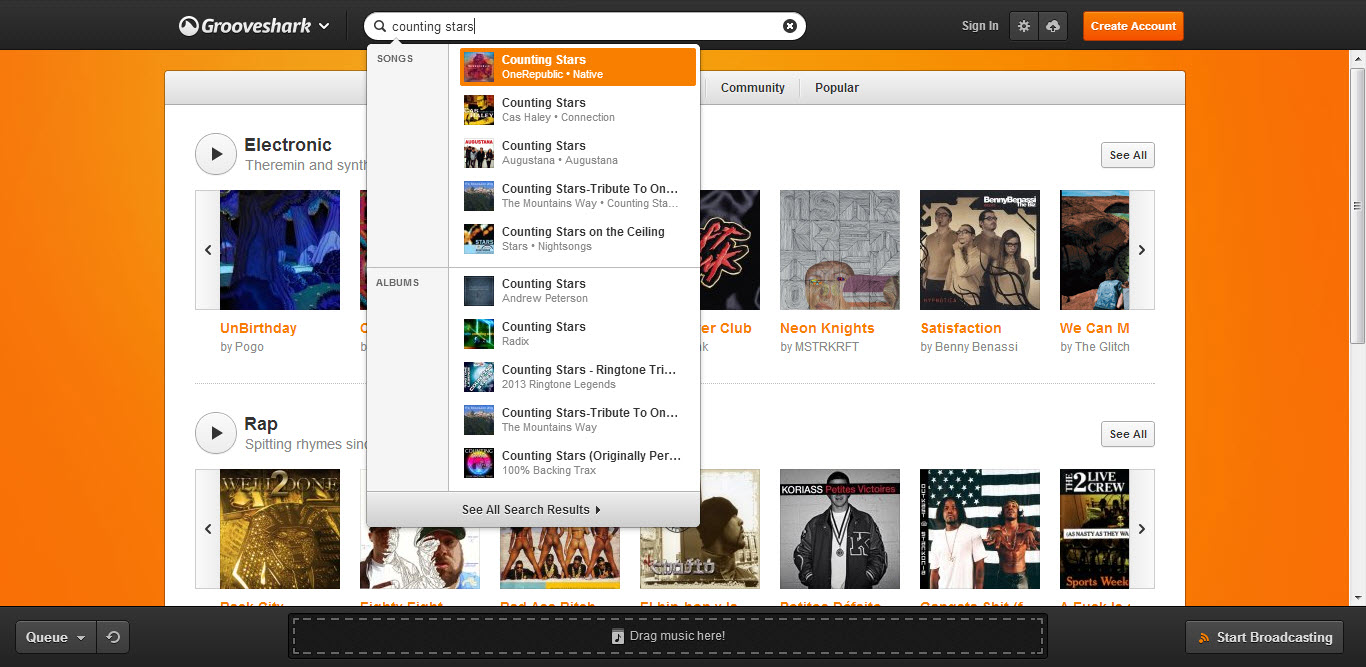Search music in grooveshark